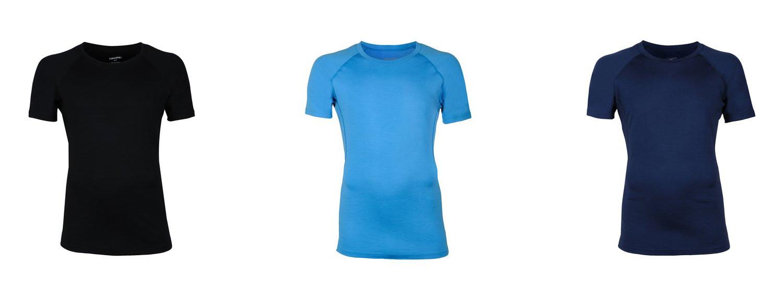 Dilling Unterwäsche Exklusives Merino Shirt Farben blau türkis und schwarz
