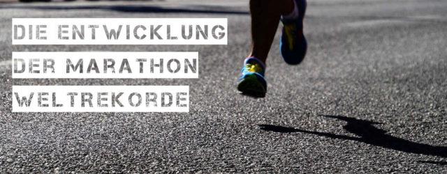 Etnwicklung der Marathon Weltrekorde Titelbild mit Läufer auf Teerstraße