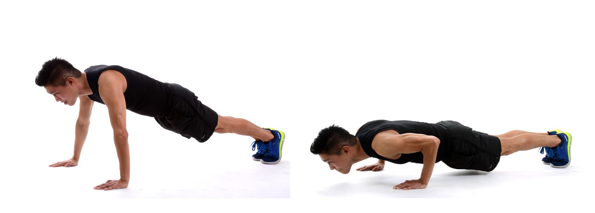 Liegestütz richtig machen mit gestreckten Armen und tiefe Position nah am Boden
