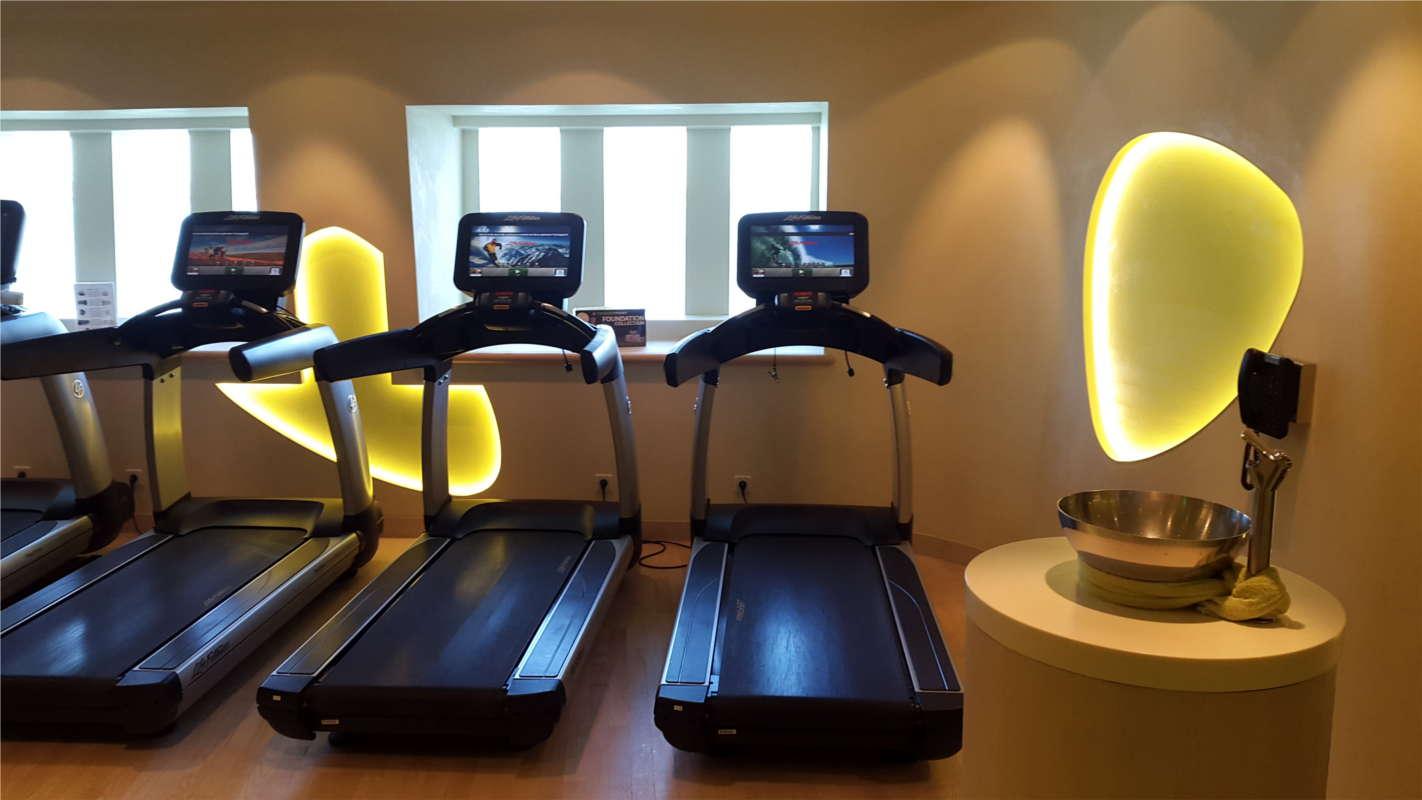 AIDAprima Laufband im Sportbereich mit Meerblick