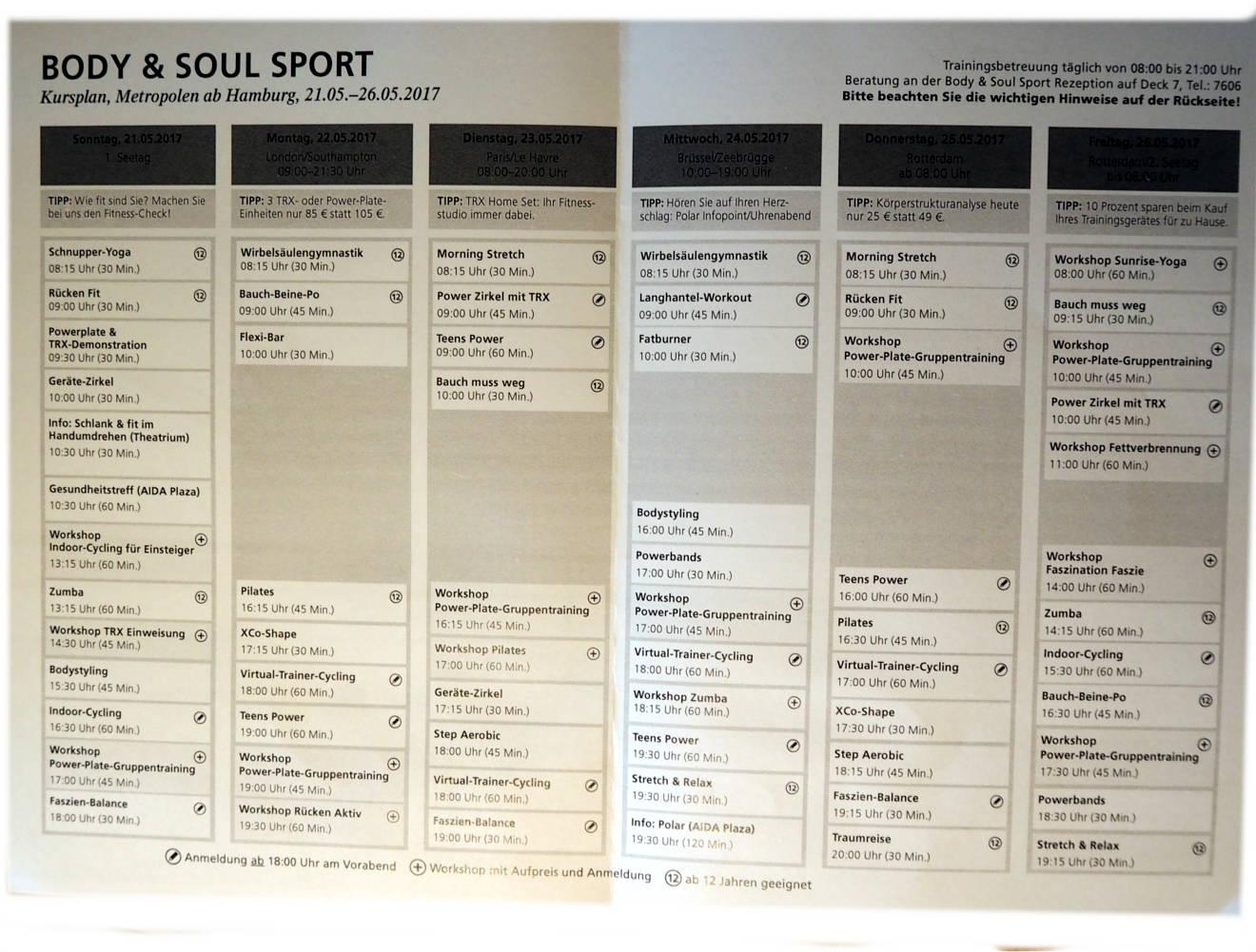 AIDAprima Body & Soul Sport Kursplan Zeiten