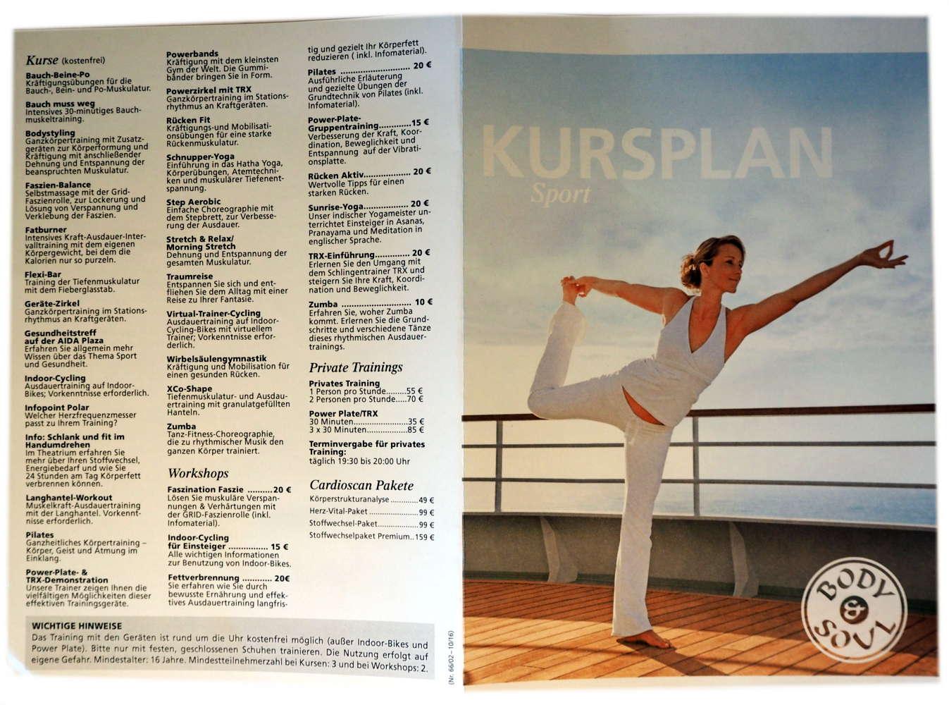 AIDAprima Body & Soul Sport Kursplan Kurse und Kosten