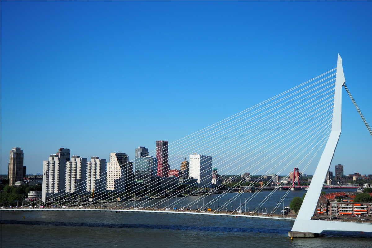 Rotterdam Ersamus Brücke am Kreuzfahrt Terminal im Zentrum