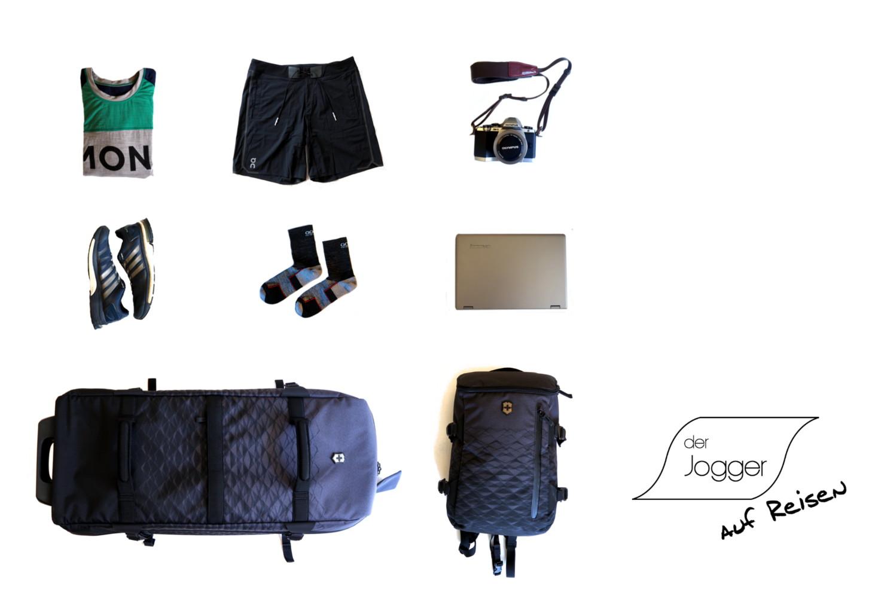 Mein Gepäck auf Reisen mit Laufsachen und Victorinox Reisetasche