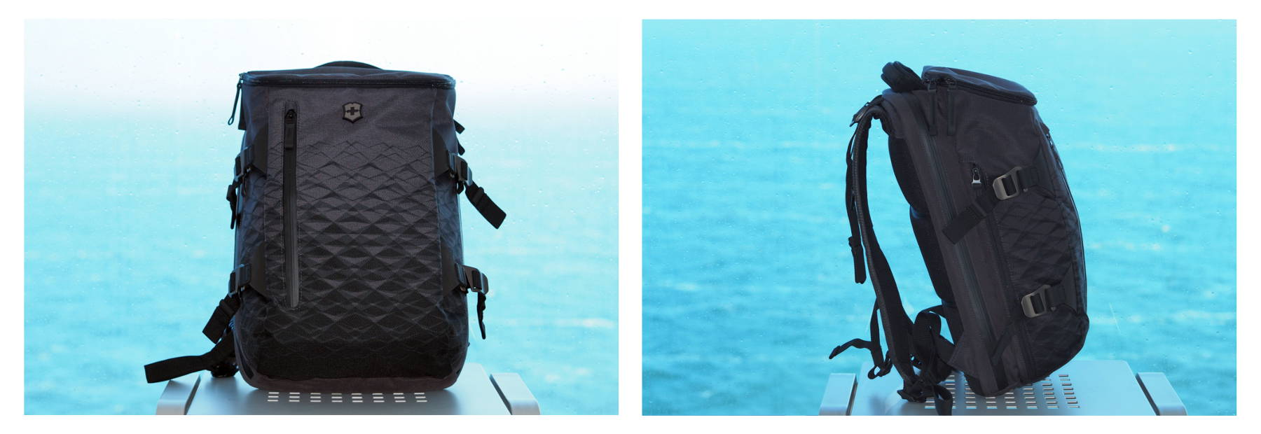 Victorinox Rucksack anthrazit vor blauem Meer, Seitenansicht und Frontansicht