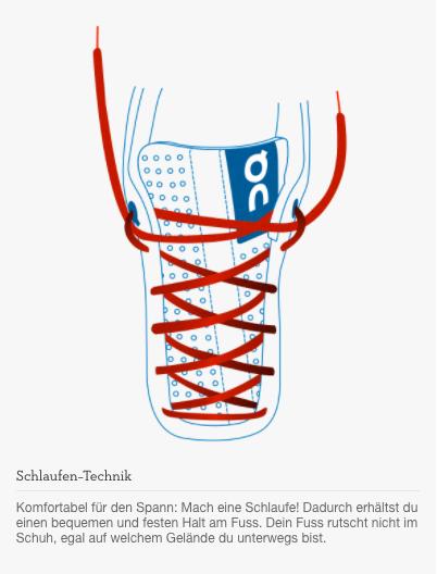 Komfortabel für den Spann: Mach eine Schlaufe! Dadurch erhältst du einen bequemen und festen Halt am Fuss. Dein Fuss rutscht nicht im Schuh, egal auf welchem Gelände du unterwegs bist.