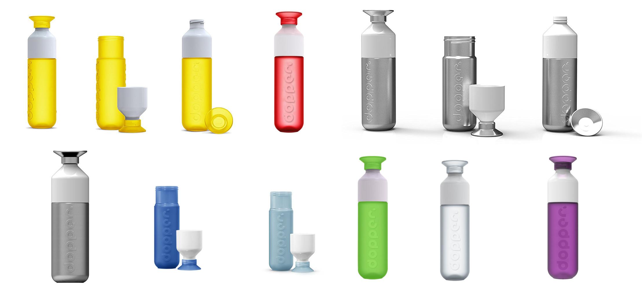 Dopper Trinkflaschenin verschiedenen Farben und Materialien