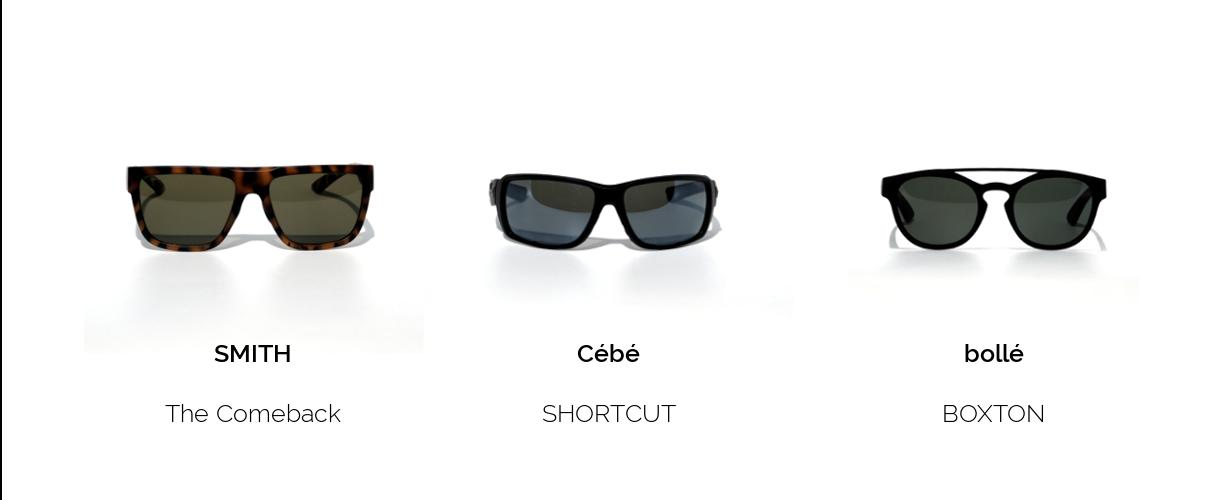 Sonnenbrillen zum Laufen mit verschiedenen Formen der Gläser - Frontansicht